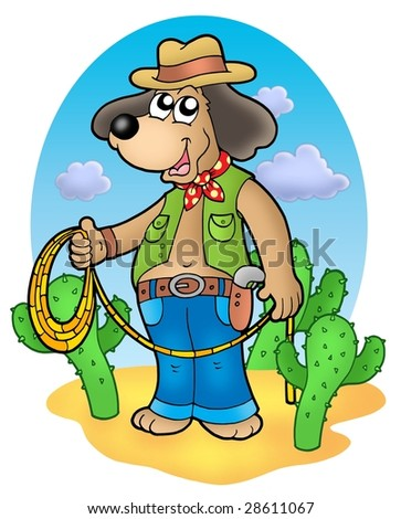 Cowboy dog with lasso in desert - color illustration.