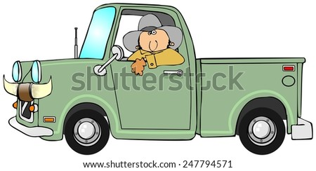 Cowboy driving a pickup - stock photo