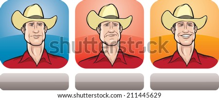 cowboy face three expressions
