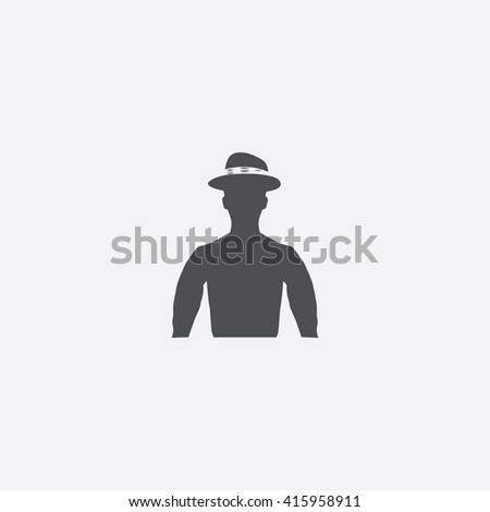 Cowboy Flat icon on white background. - stock photo