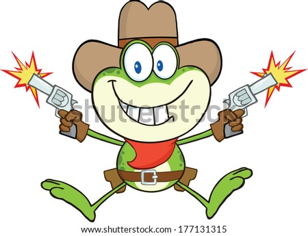 Cowboy Frog Cartoon Character Shooting With Two Guns. Raster Illustration Isolated on white