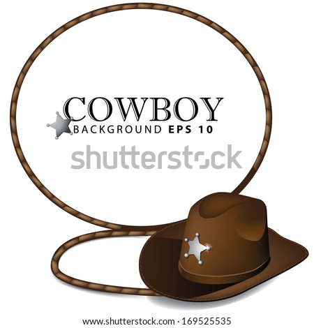 Cowboy hat and lasso background. Jpg. - stock photo