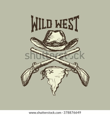 Cowboy hat and scarf,gun, wild west - stock photo