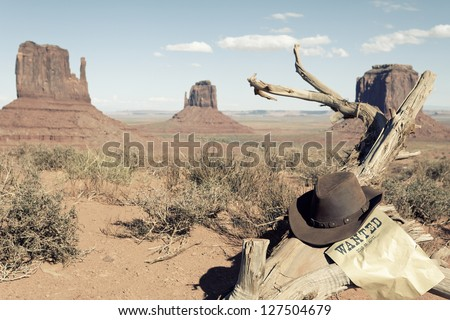 cowboy hat in front of Monument Valley, USA - stock photo