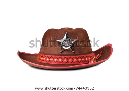 cowboy hat with the star sheriffs isolated on white background - stock photo