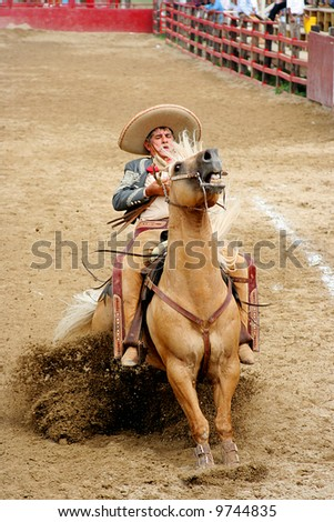 cowboy in a competence - stock photo