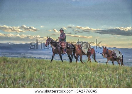 Cowboy leads horseback supplies for camp,digital oil painting - stock photo