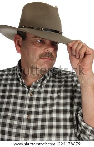 Cowboy on a white background - stock photo