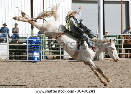 Cowboy on Bucking Bronc in rodeo. - stock photo