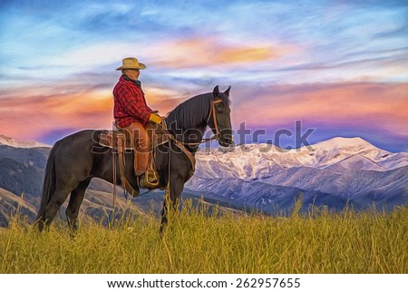 Cowboy on horseback with mountain background, digital oil painting - stock photo