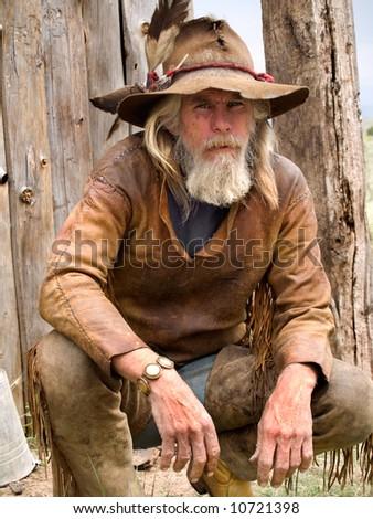 Cowboy or a mountain man - stock photo