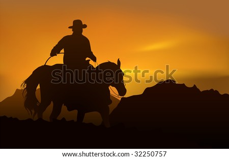 Cowboy over realistic mountains and sunset. (Rasterized versions) - stock photo