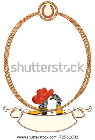 Cowboy poster background for design with cowboy elements.Rasterized vector - stock photo