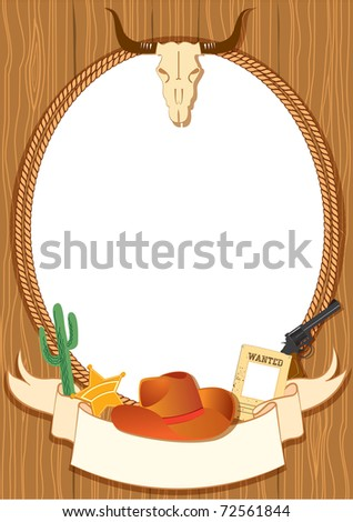 Cowboy poster background for design with vector cowboy elements - stock photo