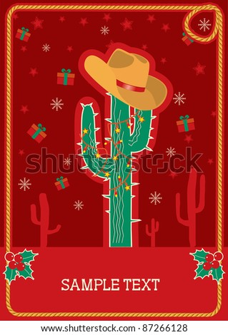 Cowboy red christmas  card with green cactus and winter holiday decoration for text.Raster - stock photo