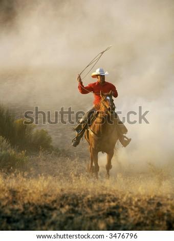 Cowboy running threw dust , roping - stock photo