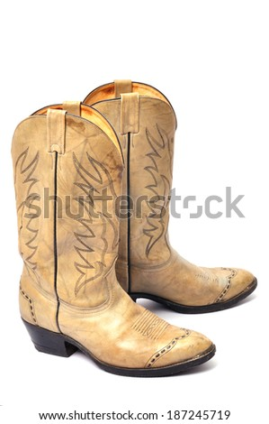Cowboy's boots from a natural leather - stock photo