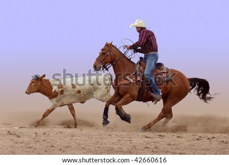 Cowboy's lasso misses its mark - stock photo