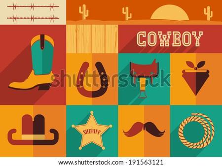 Cowboy set of wild west icons.Raster - stock photo