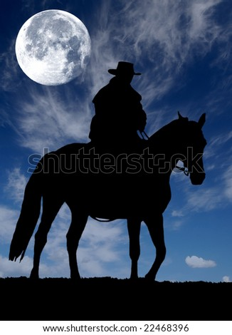 cowboy silhouette - stock photo