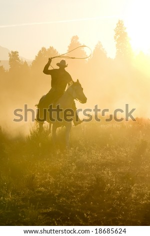 Cowboy silhouette galloping and roping through the desert - stock photo
