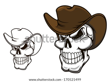 Cowboy skull in hat for mascot or tattoo logo design. Vector version also available in gallery - stock photo