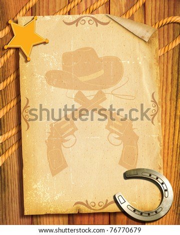 Cowboy style.Old paper background with sheriff star and horseshoes - stock photo