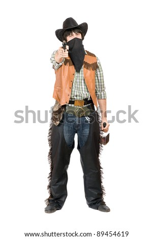 Cowboy with a gun and bottle of whiskey in hands. Isolated - stock photo