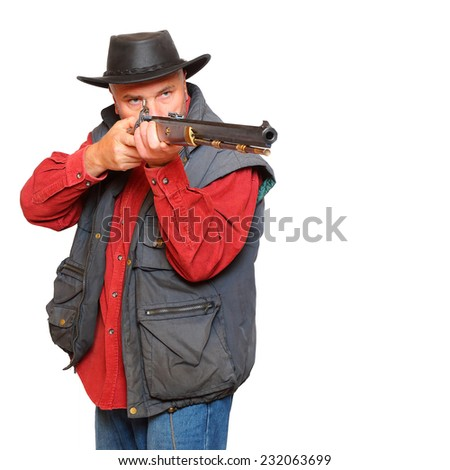 Cowboy with big bore rifle isolated on a white background.  - stock photo