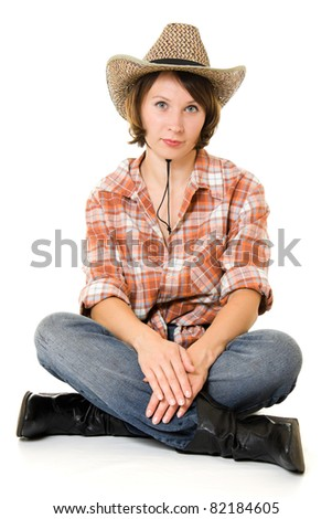 Cowboy woman on a white background.