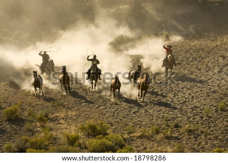 Cowboys chasing wild horses with dust everywhere - stock photo