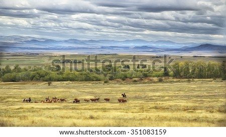 Cowboys driving herd of cattle across Montana plain,digital oil painting