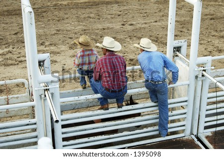 Cowboys, young and old watch the rodeo action from the gates. - stock photo