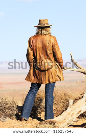 cowgirl at Monument Valley, Utah, USA - stock photo