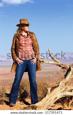 cowgirl in the desert, Utah, USA - stock photo
