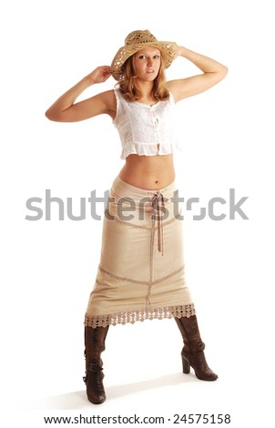 cowgirl in the long skirt - stock photo