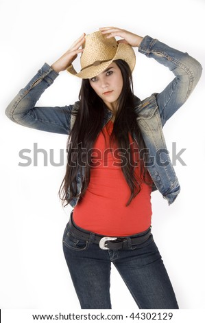 Cowgirl posing on a pure white background - stock photo