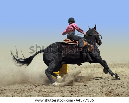 Cowgirl Rounding a Drum in the Barrel Race with clipping path - stock photo