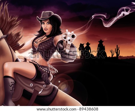 Cowgirl shooting gun - stock photo