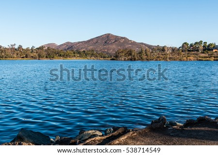Cowles Mountain and Lake Murray in Mission Trails Regional Park in San Diego, California.