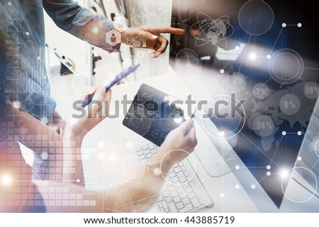 Coworkers Team Working Office Studio Startup.Businessman Using Modern Tablet,Desktop Monitor Wood Table.Bank Managers Market Researching Process.Virtual HiTech Diagram Interface Screen Device Blurred. - stock photo