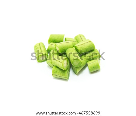 cowpea slice  on white background, ready to cook