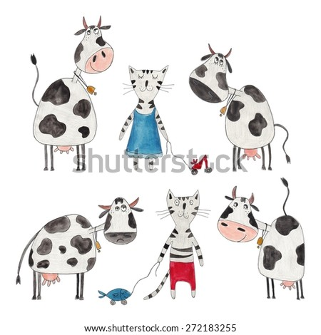 Cows and cats. Cartoon characters over white - stock photo