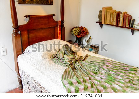 COYOACAN, MEXICO - OCT 28, 2016: Bed room in the Blue House (La Casa Azul), historic house and art museum dedicated to the life and work of Mexican artist Frida Kahlo