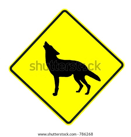 Coyote Crossing sign isolated on a white background - stock photo