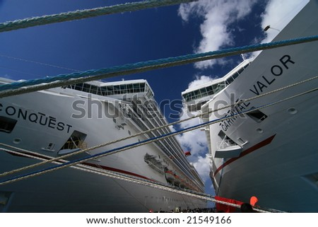 Cozumel, Mexico - Apr 4: Two cruises anchoring at the port, on April 4, 2008 in Cozumel, Mexico - stock photo