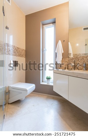 Cozy and beige bathroom in the apartment