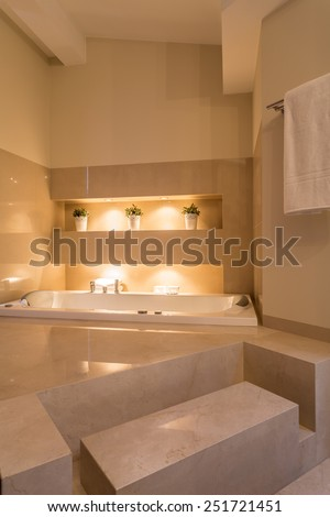 Cozy and huge bathroom in residence - stock photo
