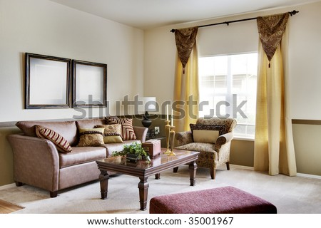 Cozy apartment living room with sofas - stock photo
