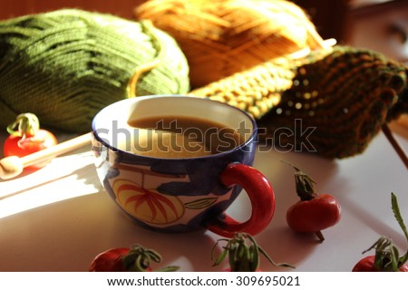 Cozy background or Cozy fall, Fall background, Coffee background, a Cup of coffee, Coffee cup, Good day, Happy life, Knitting, Knit texture, Autumn background, Cozy, Be happy, Lifestyle, Sweet home - stock photo